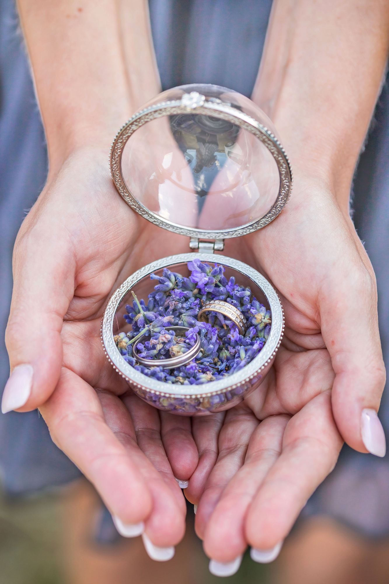 wedding rings in a lavender box for you elopement in Provence