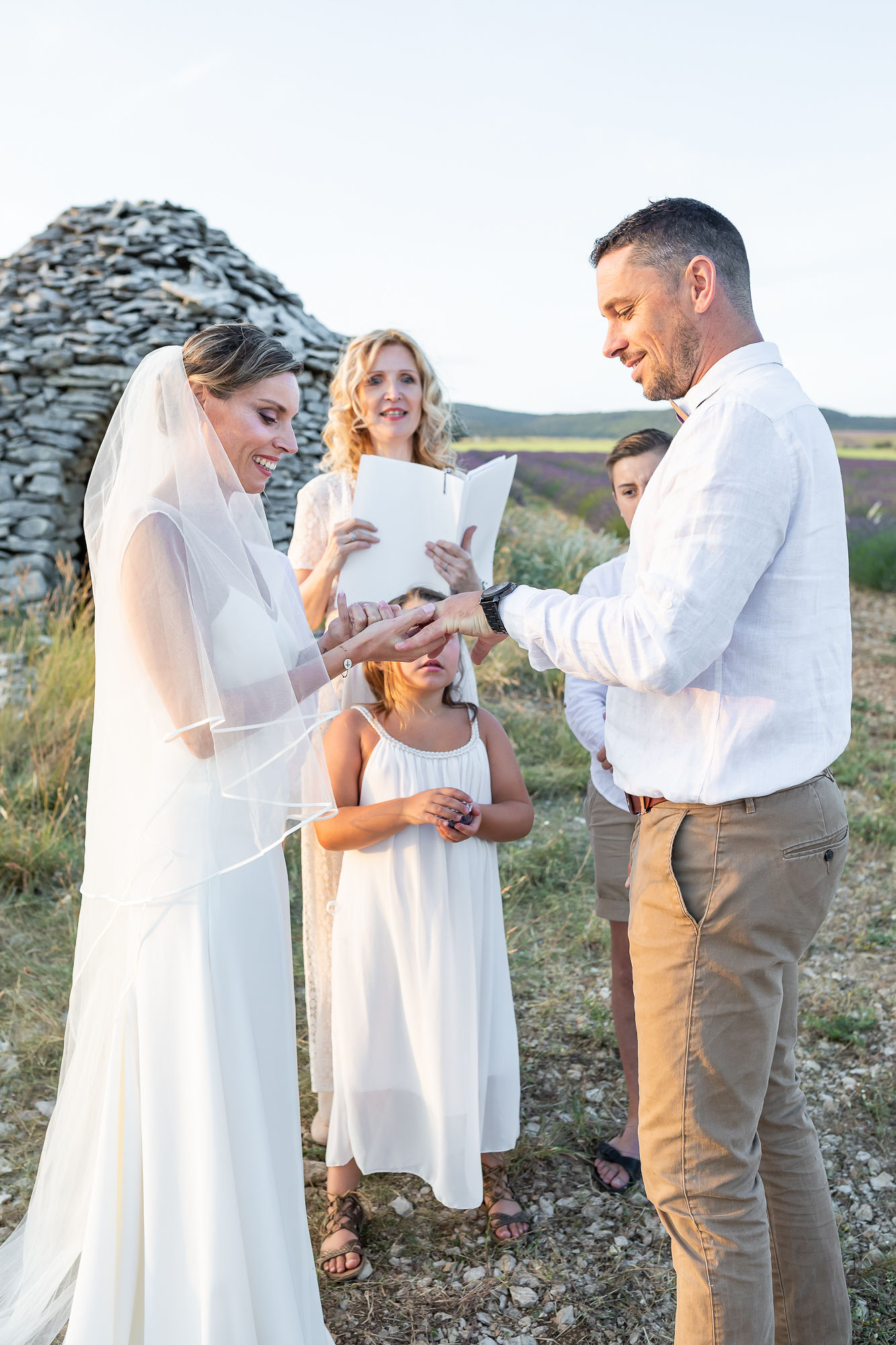 aria vow renewal ceremony during an elopement in Provence in lavender fields