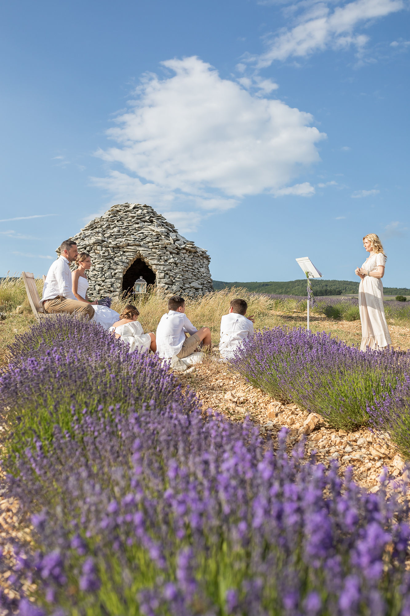elopement in Provence vow renewal ceremony in lavender field