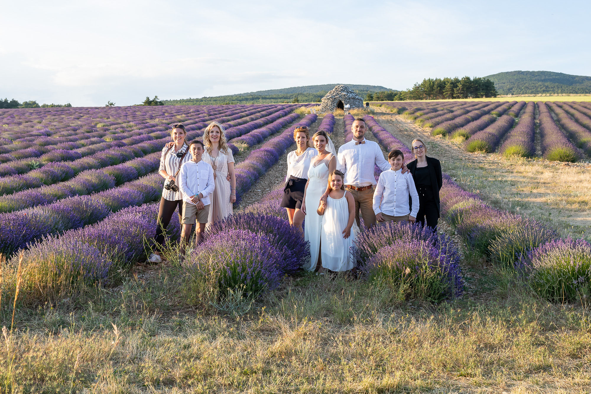 aria elopement in Provence wedding vendros team with bride and groom